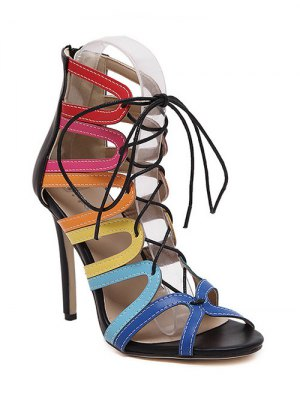 Hollow Out Color Block Lace-Up Sandals - Black