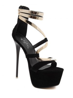 Metallic Platform Stiletto Heel Sandals - Black