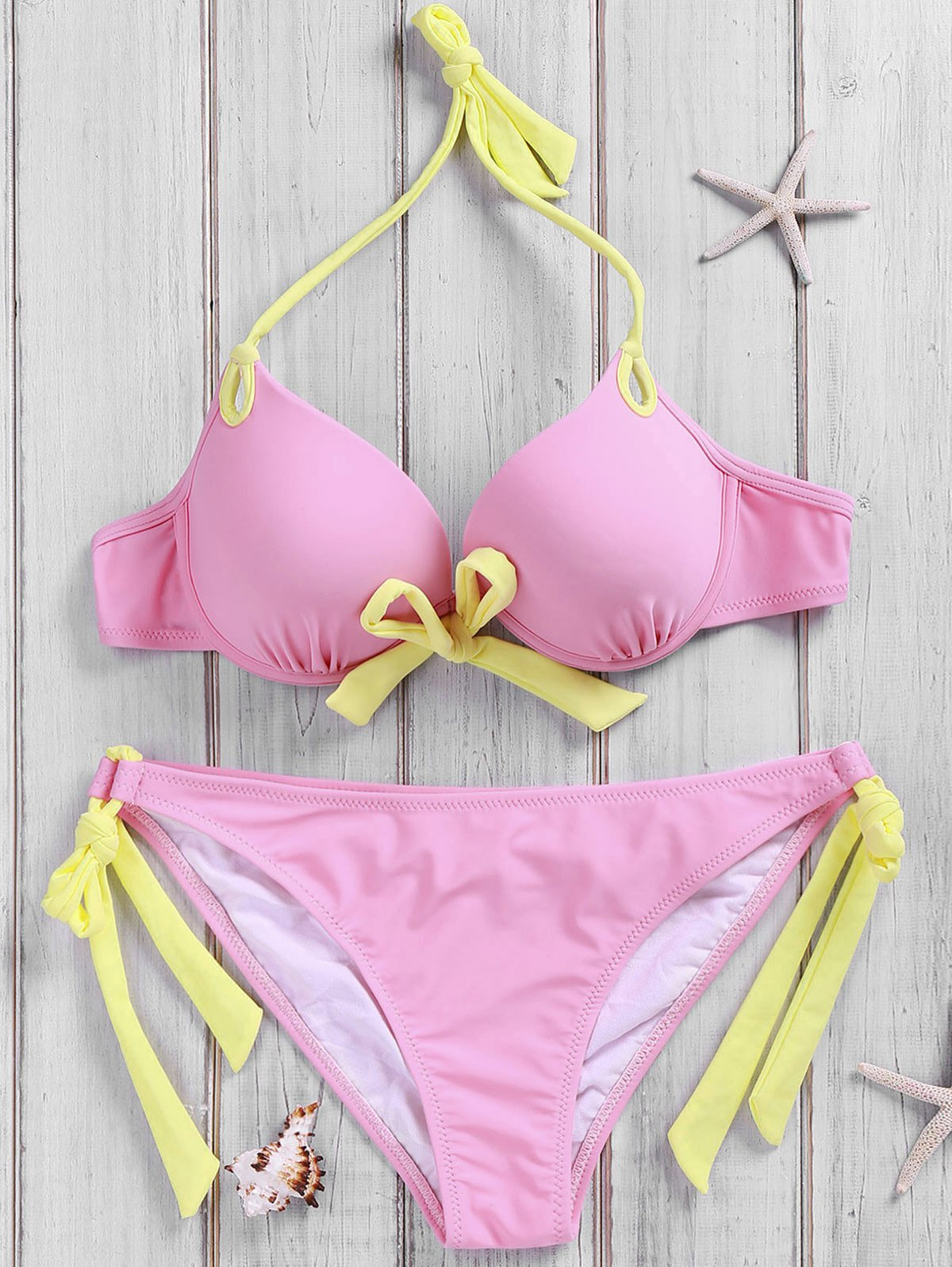 Side-Tie Pink Bikini Set