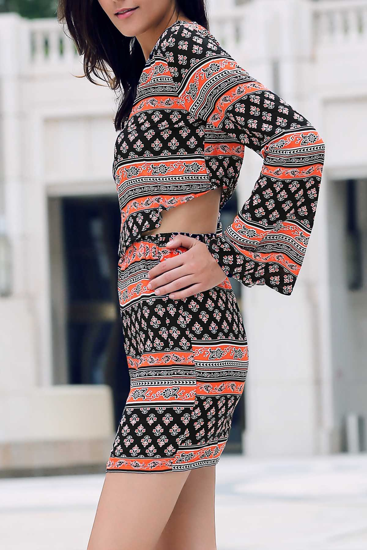 Tribal Print Long Sleeve Crop Top and Mini Skirt Twinset