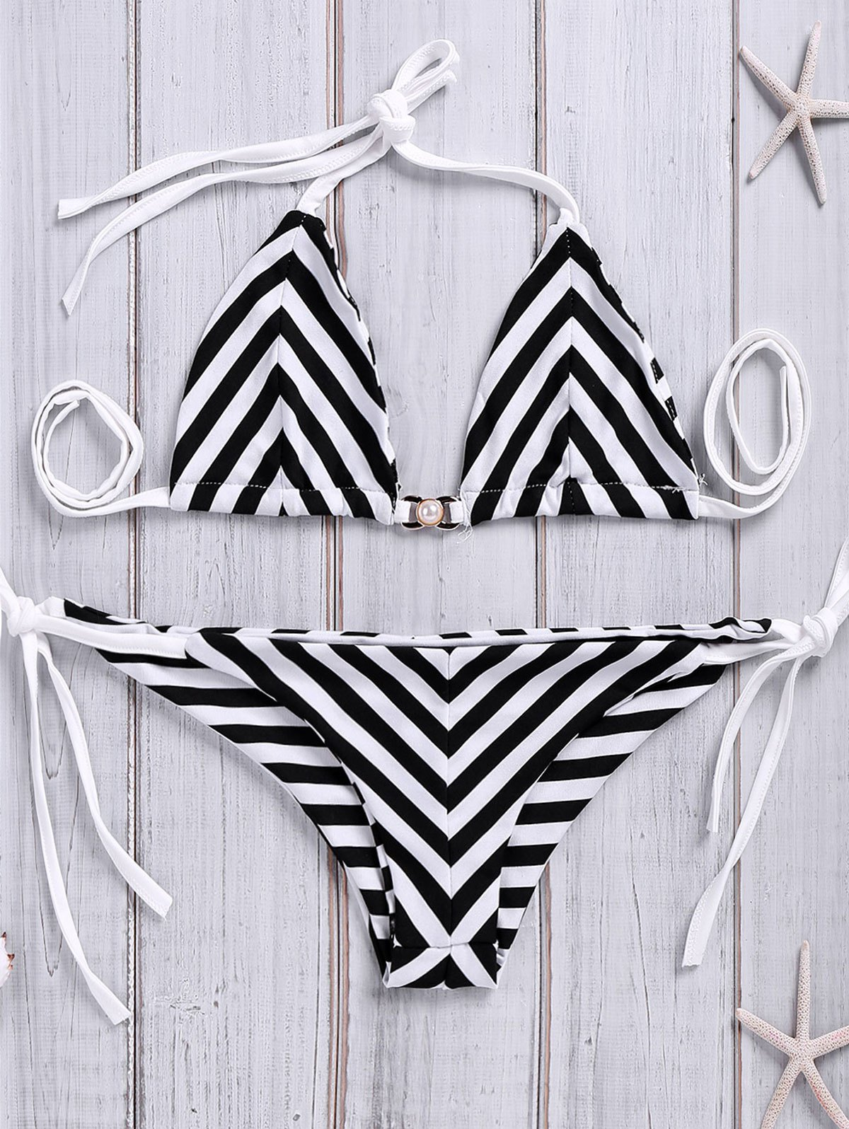 Chevron Stripe Tie-Side Bikini Set