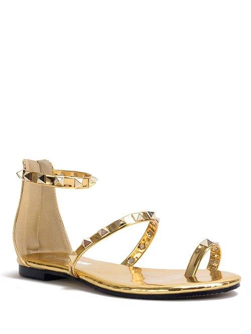 Buy Rivet Toe Ring Metallic Color Sandals GOLDEN 38