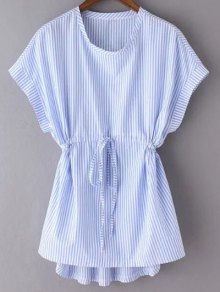 Striped Drawstring Front Top