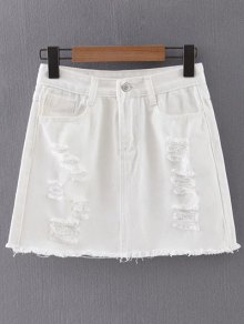 White Ripped Denim Skirt WHITE: Skirts | ZAFUL