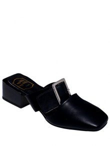 Solid Color Buckle Chunky Heel Slippers - Black 36