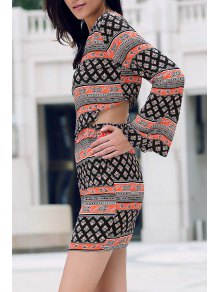Tribal Print Long Sleeve Crop Top and Mini Skirt