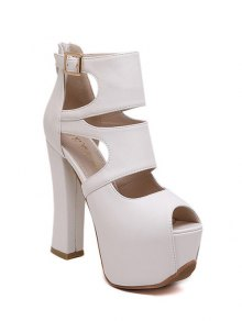 Peep Toe Solid Color Chunky Heel Sandals - White 39