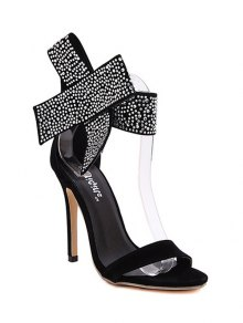 Bow Rhinestones Stiletto Heel Sandals - Black 40