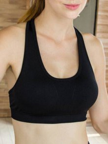 Sporty Solid Color U-Neck Cropped Tank Top