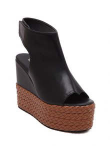 Weaving Platform Black Sandals - Black 37