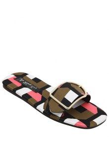 Color Block Buckle Flat Heel Slippers