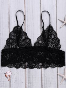 See-Through Lace Crop Top - Black