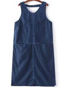 Two-Pocket Sleeveless Denim Dress