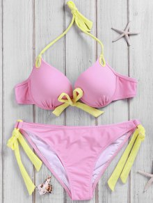 Side-Tie Pink Bikini Set