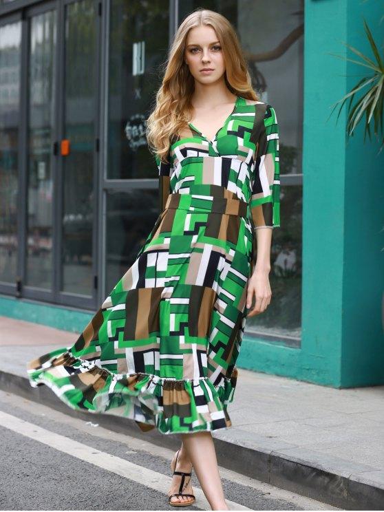 online Ruffle Swingy Midi Dress - COLORMIX M