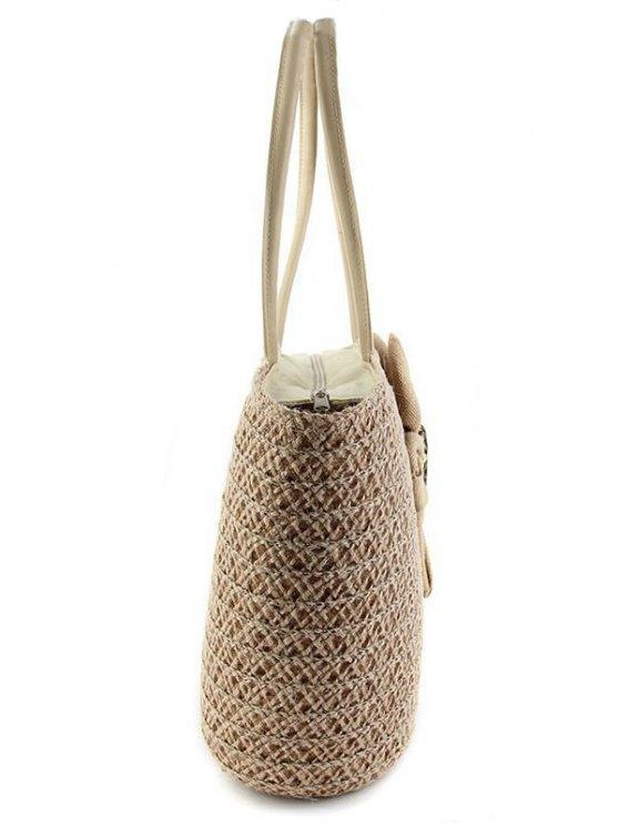 Sunflower Solid Color Weaving Shoulder Bag - WHITE  Mobile
