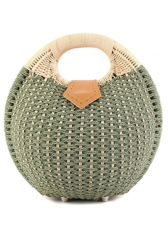 new Round Shape Cane Weaving Tote Bag - GREEN