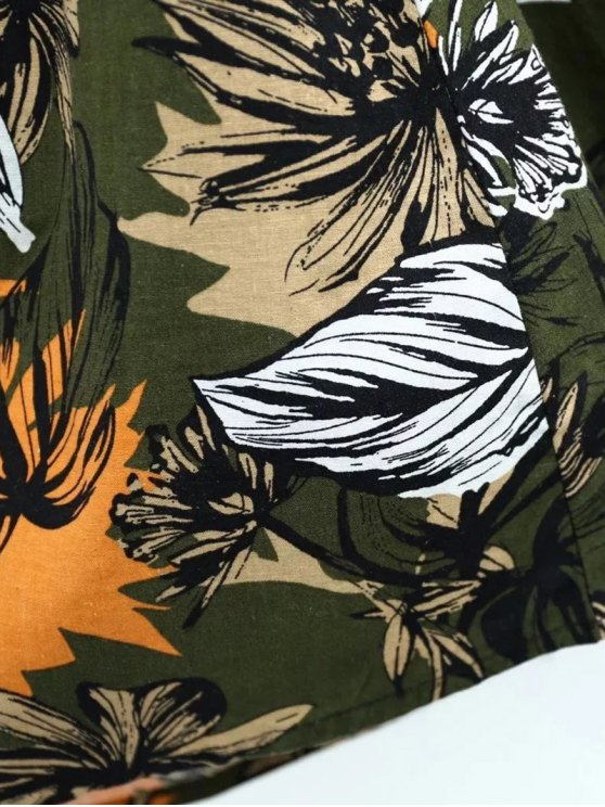 Full Floral High Waist Skirt - CADETBLUE L Mobile