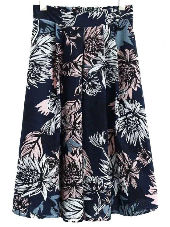 Floral de la falda llena de cintura alta - Teal L