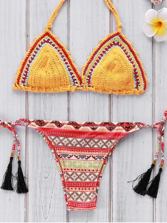 lady Geometric Print Crocheted Bikini Set - YELLOW M
