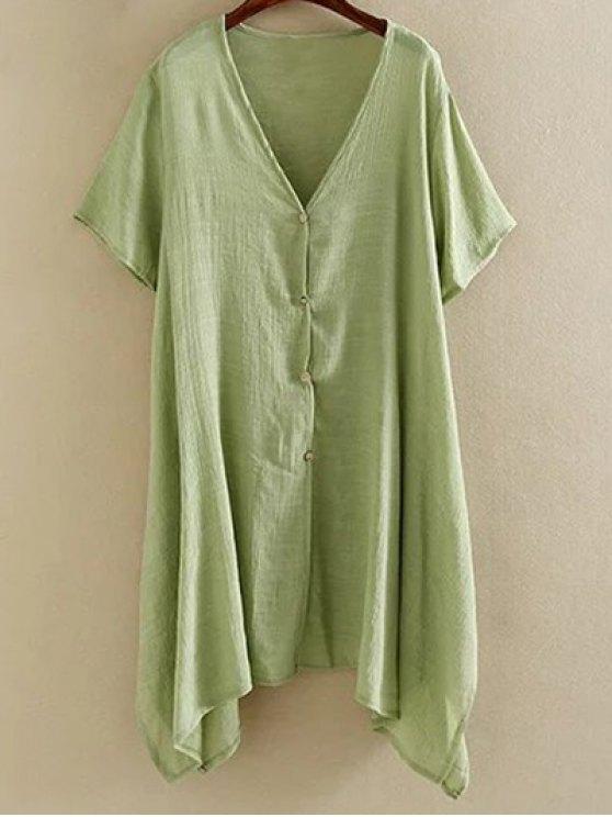 Hem irregular Escudo cuello en V manga corta - Verde XL