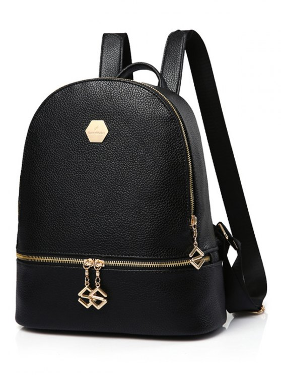 PU Leather Zips Solid Color Satchel - BLACK  Mobile