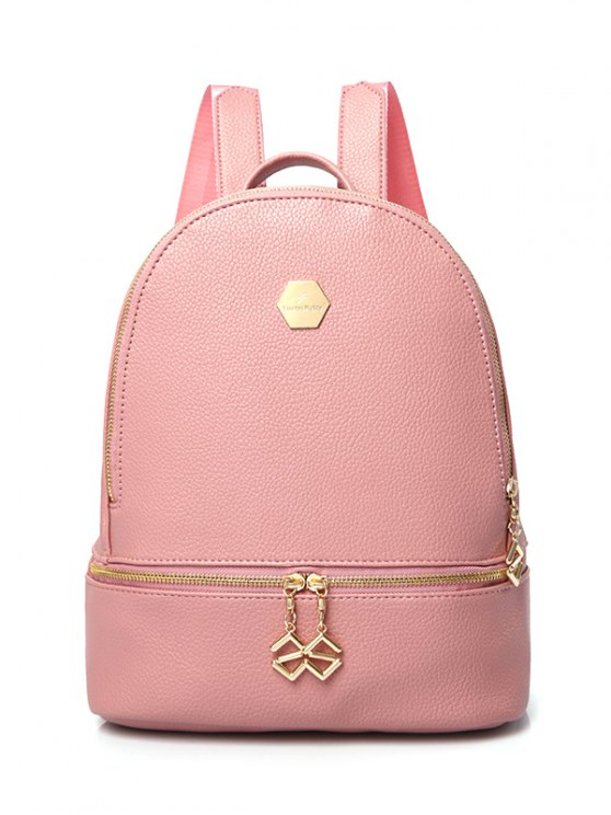 outfits PU Leather Zips Solid Color Satchel - PINK