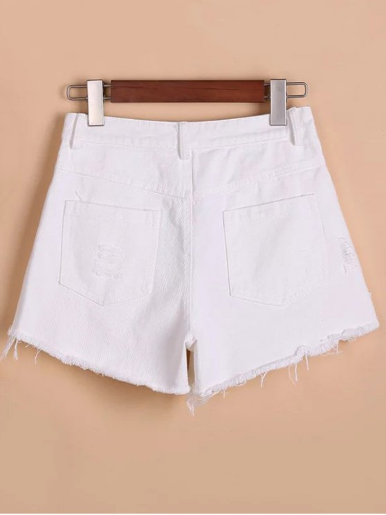 Button Fly Ripped Rough Selvedge Denim Shorts - WHITE XL Mobile