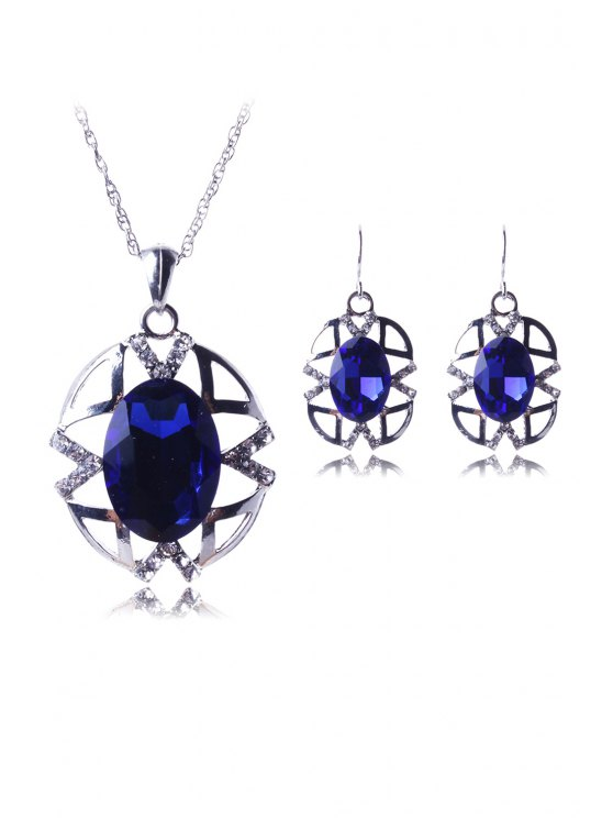 buy Hollow Out Jewelry Pendant Necklace and Earrings - BLUE