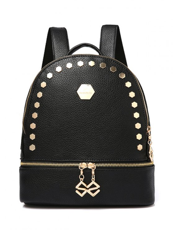 Solide Couleur Metallic Zips Satchel - Noir