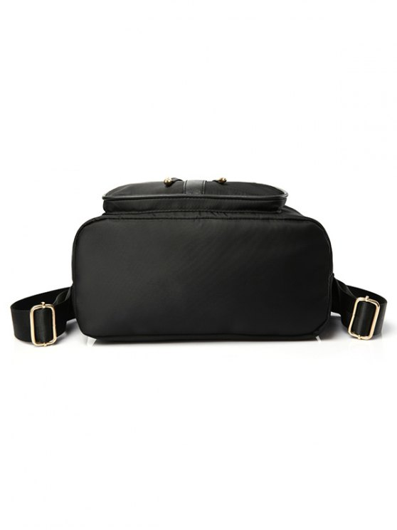 Drawstring Nylon Black Satchel - BLACK  Mobile