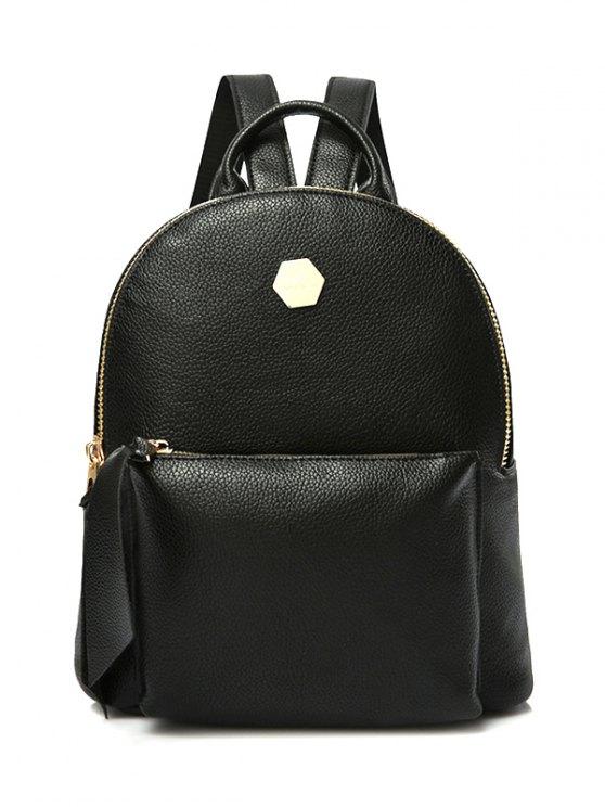 lady PU Leather Zips Black Satchel - BLACK