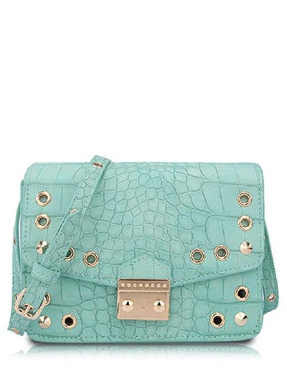 Crocodile ojal impresión del color del caramelo del bolso de Crossbody - Verde Claro