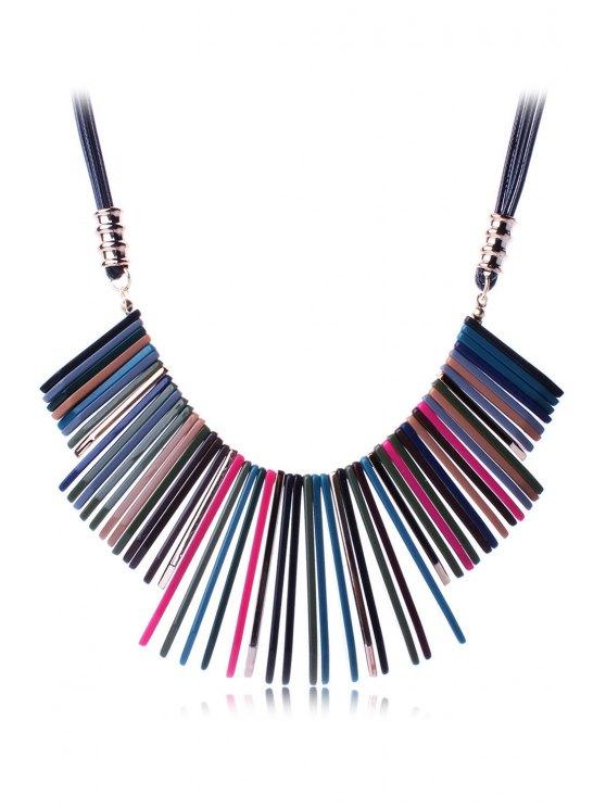 Multicolor collar de la resina geométrica - Negro