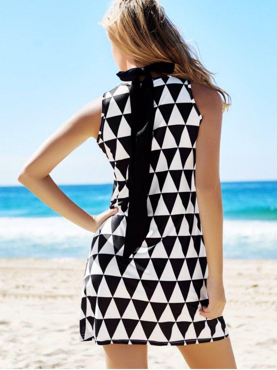 Geometric Print Round Neck Sleeveless Dress - BLACK XL Mobile