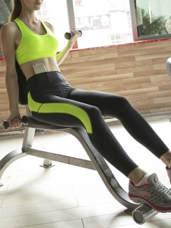 Sporty Bra And Skinny Ninth Pants Yoga Suit - Neon Green L