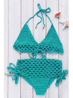 High-Rise Crochet Bikini Set - Green