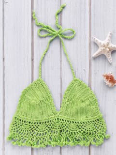 Solid Color Crochet Hollow Halter Bikini Top - Green