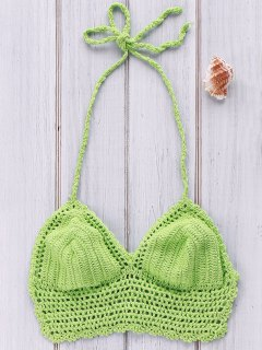 Pure Color Halter Crochet Bikini Top - Green