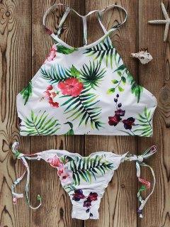 Flowers Print High Neck Bikini Set - White M