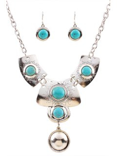 Turquoise Ethnic Necklace And Earrings - Silver