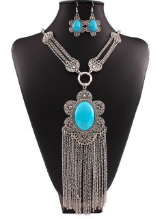 Turquoise Flower Tassel Necklace And Earrings - Lake Blue