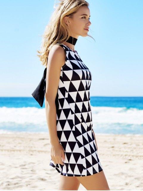 latest Geometric Print Round Neck Sleeveless Dress - BLACK L Mobile