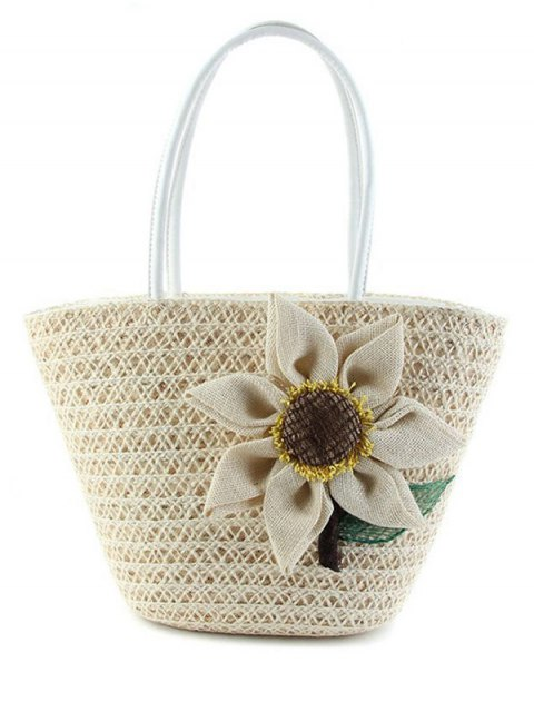 hot Sunflower Solid Color Weaving Shoulder Bag - WHITE  Mobile