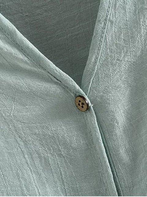 outfits Irregular Hem V Neck Short Sleeve Coat - GREEN XL Mobile