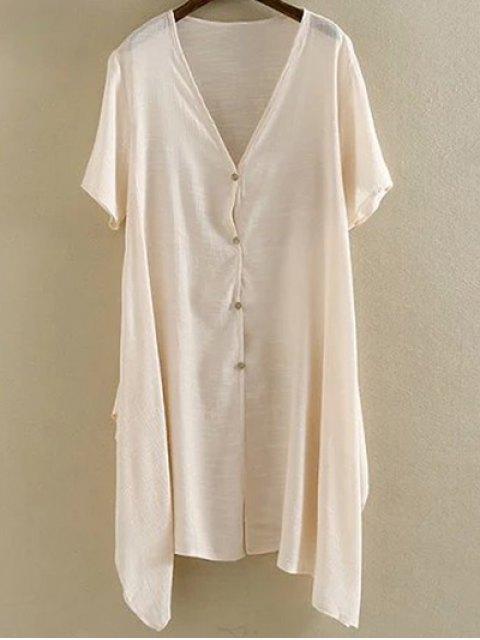 trendy Irregular Hem V Neck Short Sleeve Coat - PINK XL Mobile