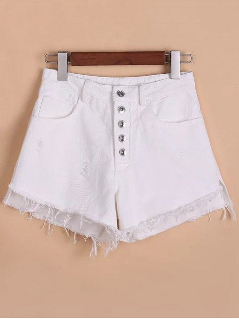 womens Button Fly Ripped Rough Selvedge Denim Shorts - WHITE M Mobile