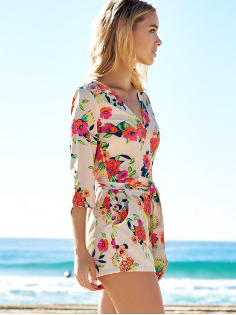 trendy Cross-Over Floral Print Belted Playsuit - COLORMIX S Mobile