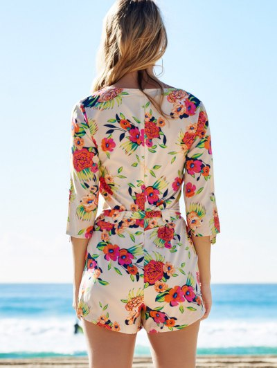 Cross-Over Floral Print Belted Playsuit - COLORMIX S Mobile