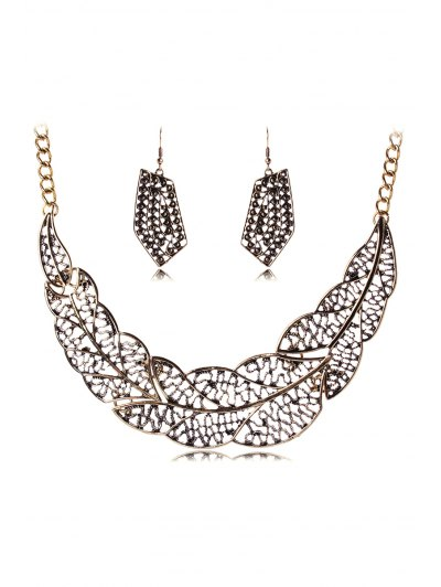 Hollow Out Leaf Necklace And Earrings - Golden